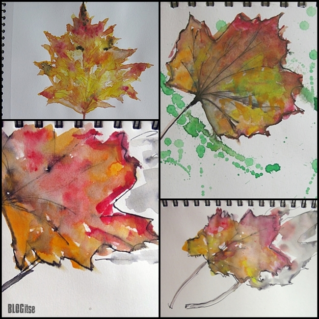 watercolor maple leaves by BLOGitse