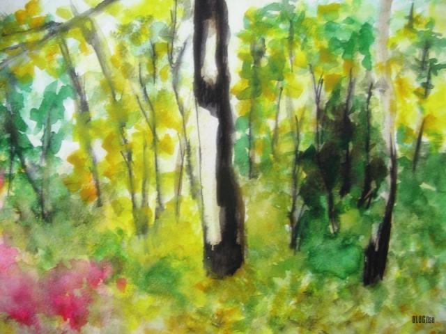 watercolor autumn woods by BLOGitse