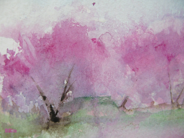 detail of trees in pink, watercolor by BLOGitse