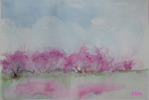 trees in pink, watercolor by BLOGitse
