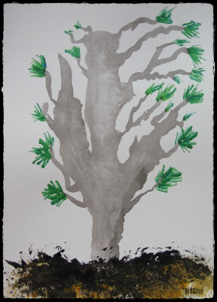 ink and acrylics tree by BLOGitse