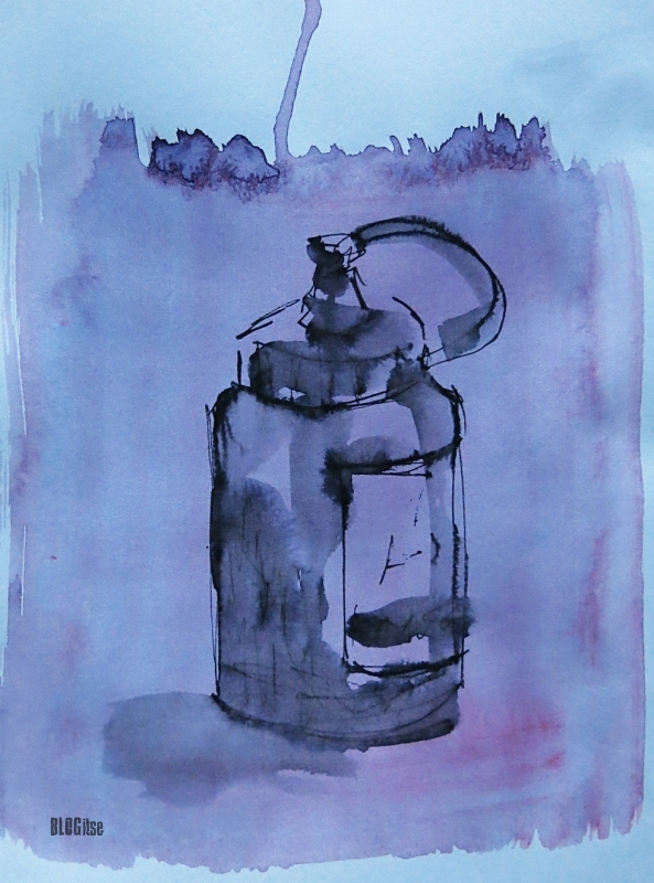 ink and watercolor bottle by BLOGitse