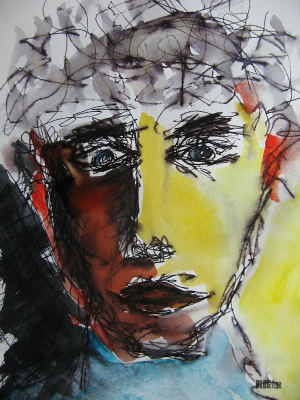 ink watercolor face by BLOGitse