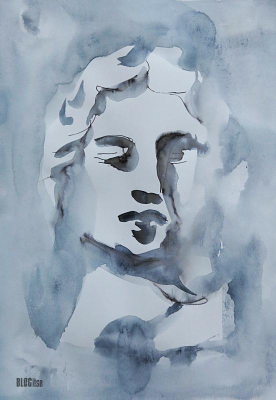 ink watercolor woman by BLOGitse