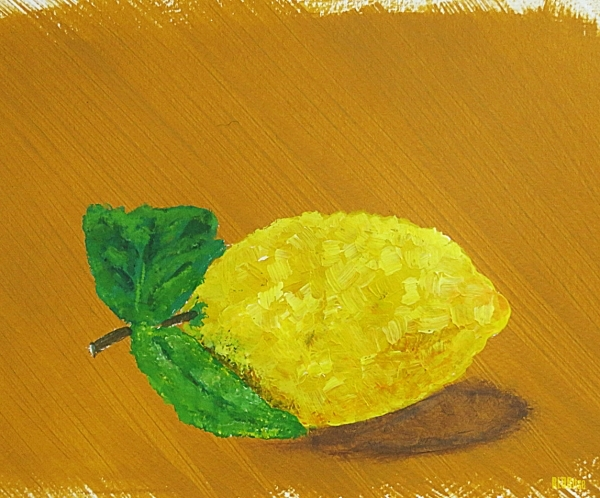 lemon painted with acrylics